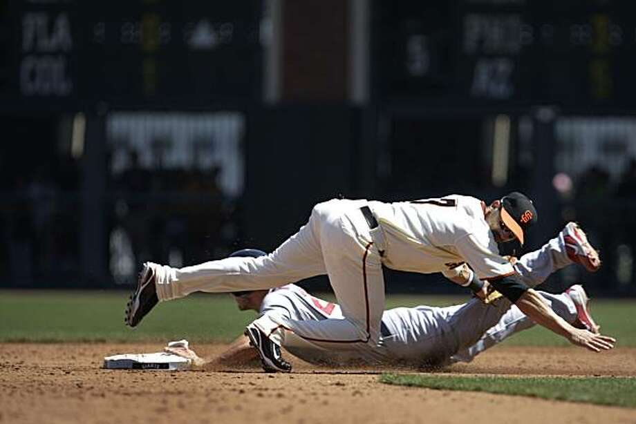 David Freese (bottom) of the Cardinals steals second while Mark DeRosa (top) of the Giants tries to stop him in the sixth inning of the San Francisco Giants vs. St. Louis Cardinals game at AT&T Park in San Francisco, Calif. on Sunday April 25, 2010. The final score was Cardinals 2 - Giants 0. Photo: Lea Suzuki, The Chronicle