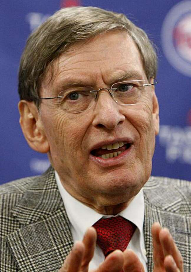 FILE - In this April 12, 2010, file photo, Baseball Commissioner Bud Selig responds to a question during a news conference at Target Field, in Minneapolis.  Selig says his science adviser is examining the human growth hormone blood test available throughthe World Anti-Doping Agency but isn't sure when the studying will completed. Photo: Ann Heisenfelt, AP