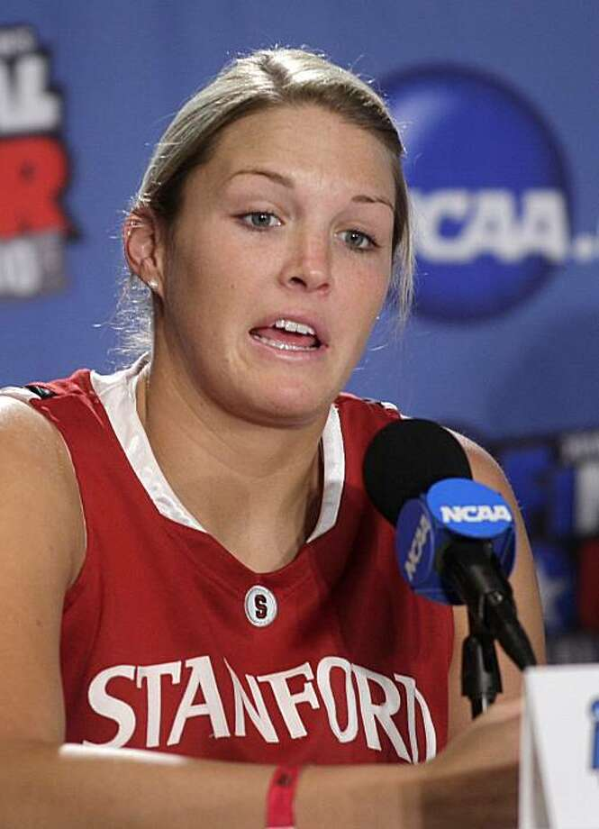 Stanford's Jayne Appel responds to a question during a news conference at the NCAA Women's Final Four college basketball tournament Monday, April 5, 2010, in San Antonio, Texas. Stanford plays Connecticut for the national championship Tuesday night. Photo: Sue Ogrocki, AP