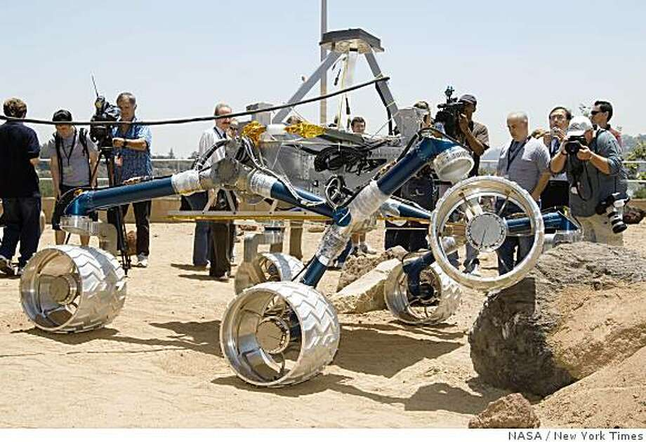 NASA's goal is to send a robotic rover the size of a small SUV to Mars. The rover would be powered by a nuclear battery and able to roam far and wide, gathering information with a  suite of powerful instruments, including a laser to vaporize rocks. Photo: NASA, New York Times