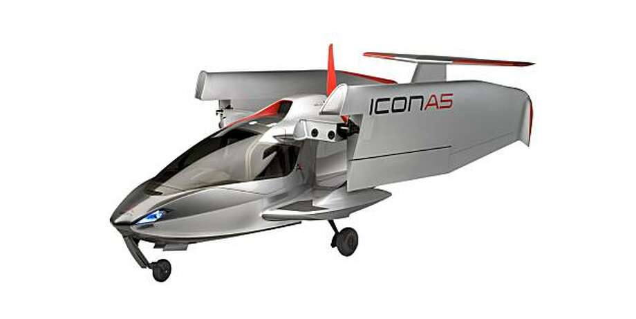 Two Stanford engineers have developed a new plane, the ICON A5, that not only flies but can folded up and be towed by a car. This artist rendering shows the plane in the folded position. ICON Aircraft / Courtesy to The Chronicle Photo: ICON Aircraft, Courtesy To The Chronicle