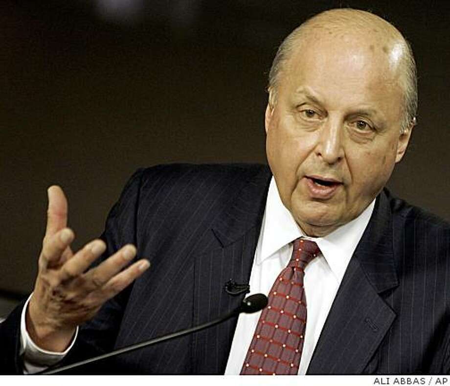 US Deputy Secretary of State John Negroponte speaks during a joint news conference with Iraqi Foreign Minister Hoshyar Zebari (not seen) in the heavily fortified Green Zone in Baghdad, Iraq. Tuesday, Oct. 7, 2008.  (AP Photo/Ali Abbas, Pool) Photo: ALI ABBAS, AP