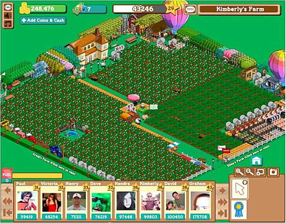 FarmVille, a facebook app from  San Francisco-based developers Zynga.
