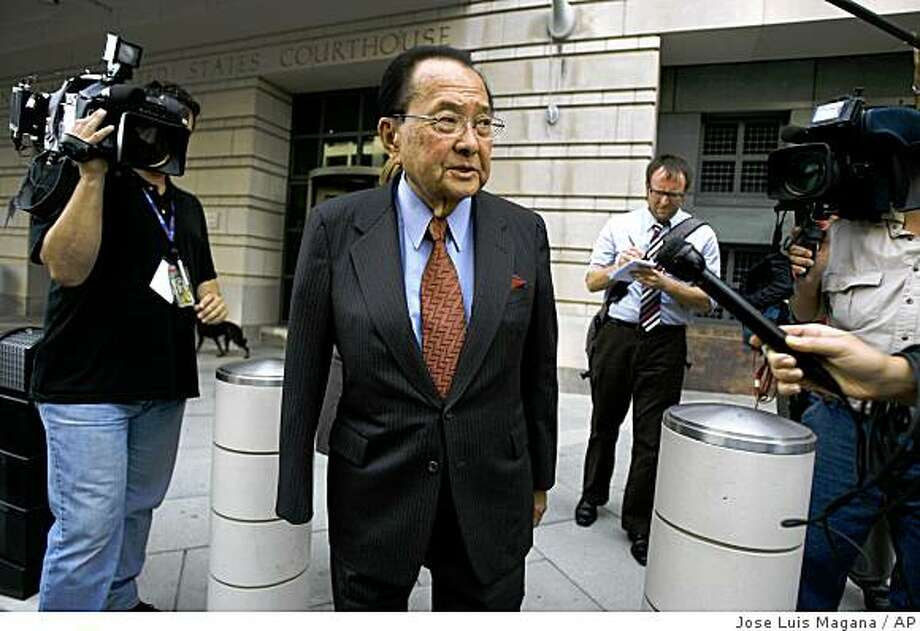 Sen. Daniel Inouye, D-Hawaii, talks with reporters as he leaves U.S. District Court in Washington Thursday, Oct. 9, 2008 after appearing as a defense witness for Sen. Ted Stevens, R-Alaska. (AP Photo/Jose Luis Magana) Photo: Jose Luis Magana, AP