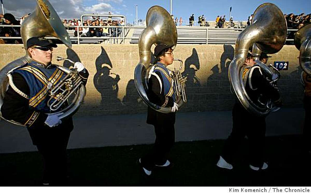 The suousaphone section leaves the field after the U.C. Davis marching band performs at the beginning of the U.C. Davis-Northern Colorado football game in Davis, Calif., on Saturday, Oct. 4, 2008.