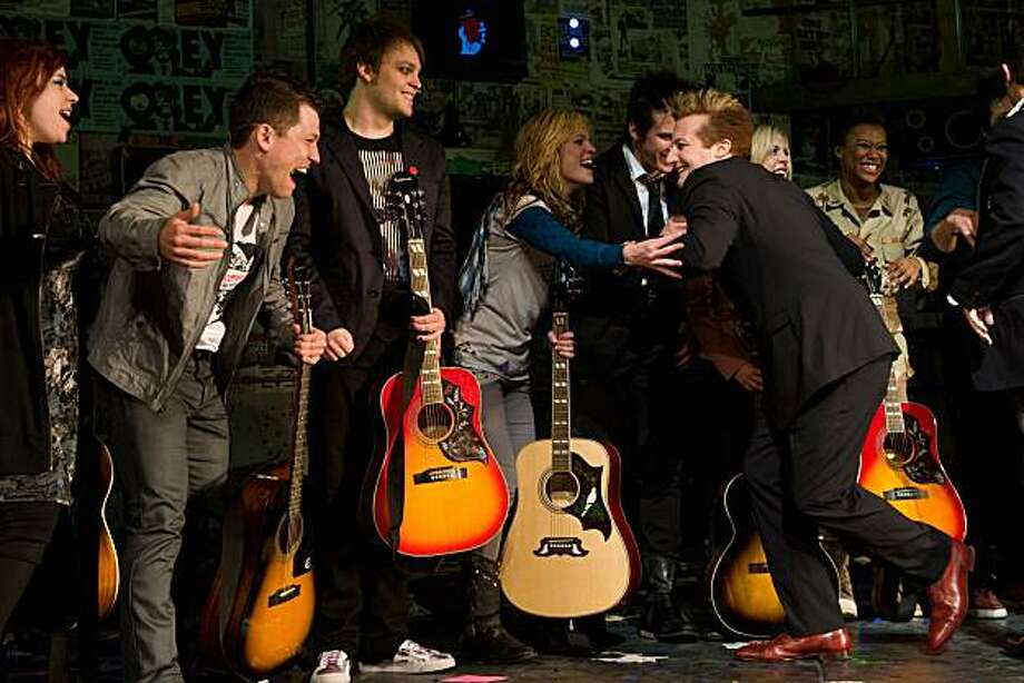 Green Day member Tre Cool greets cast members at the curtain call for the opening night performance of the Broadway musical 'American Idiot' in New York, Tuesday, April 20, 2010. Photo: Charles Sykes, AP