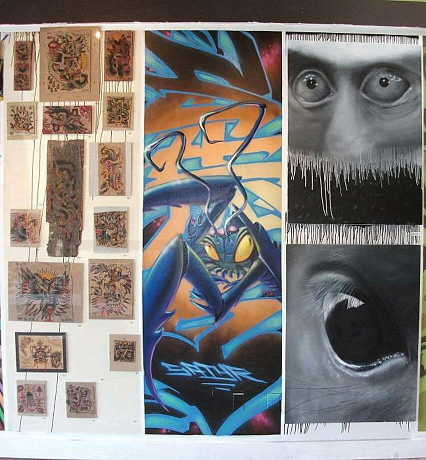 Stand Tall:   (l-r) Devon Blood, Satyr and  Jae54 are among 20 artists invited to create 3'x9' panels currently on display at Old Crow Tattoo and Gallery in Oakland. Photo: Old Crow Tattoo And Gallery