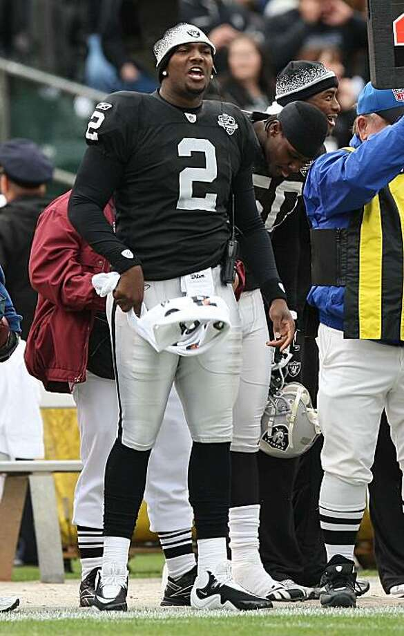 OAKLAND, CA - NOVEMBER 22:  JaMarcus Russell #2 of the Oakland Raiders looks on from the bench against the Cincinnati Bengals during an NFL game at Oakland-Alameda County Coliseum on November 22, 2009 in Oakland, California.  (Photo by Jed Jacobsohn/Getty Images) Photo: Jed Jacobsohn, Getty Images