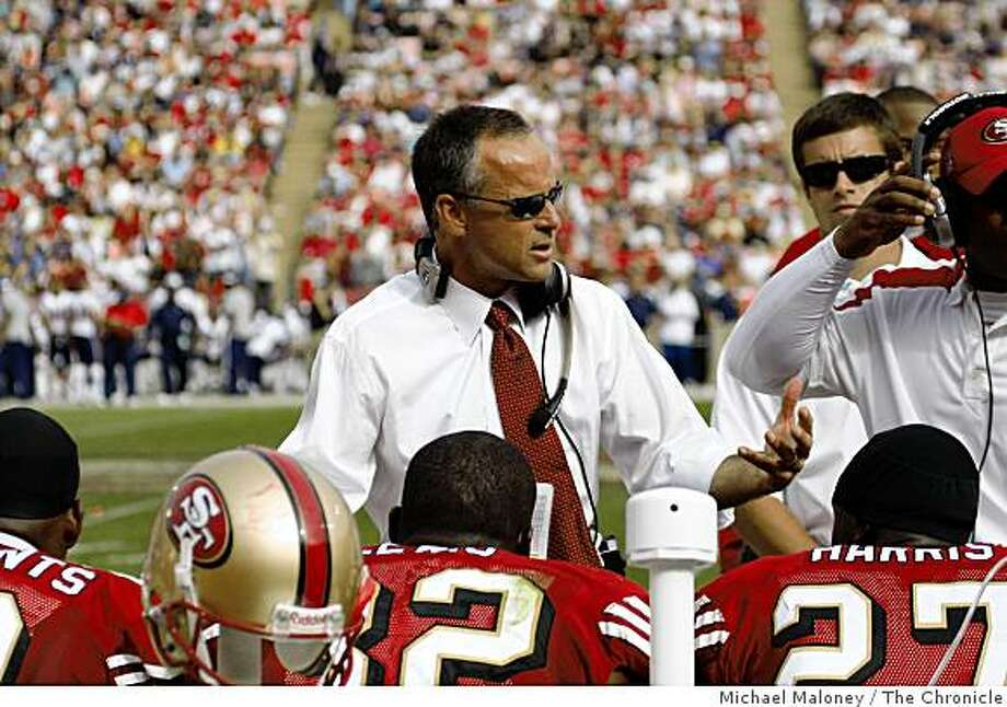 San Francisco 49ers head coach Mike Nolan talks to the defense during the 3rd quarter of a NFL game against New England Patriots at Candlestick Park in San Francisco, Calif., on October 5, 2008. Photo: Michael Maloney, The Chronicle