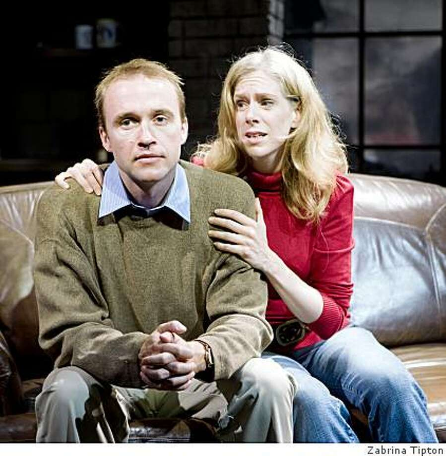 "Alex Moggridge (left) and Beth Wilmurt in Conor McPherson's ""Shining City"" at SF Playhouse. Photo: Zabrina Tipton"