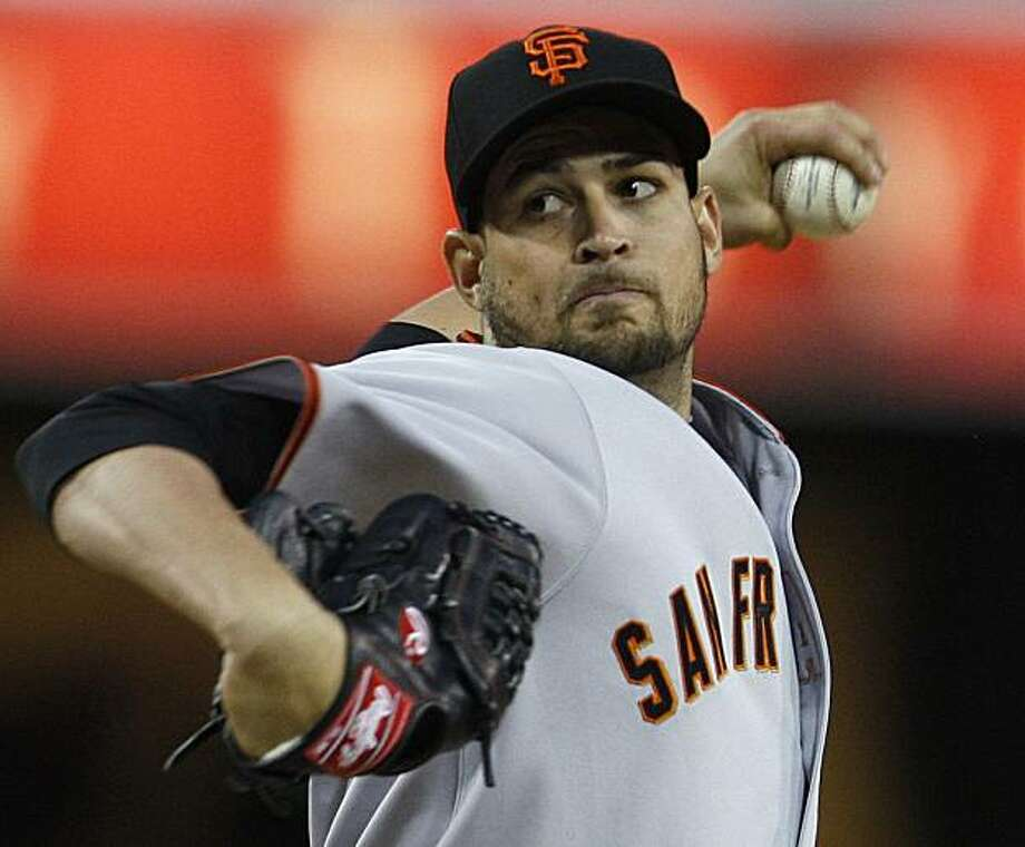 San Francisco Giants starting pitcher Jonathan Sanchez throws against the San Diego Padres in the first inning of a baseball game Tuesday, April 20, 2010, in San Diego. Photo: Lenny Ignelzi, AP