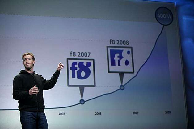 Facebook CEO Mark Zuckerberg introduces new features for Facebook during the keynote at f8, a one day developer conference sponsored by Facebook at the Concourse Design Center on Wednesday 21, 2010 in San Francisco, Calif. Photo: Mike Kepka, The Chronicle