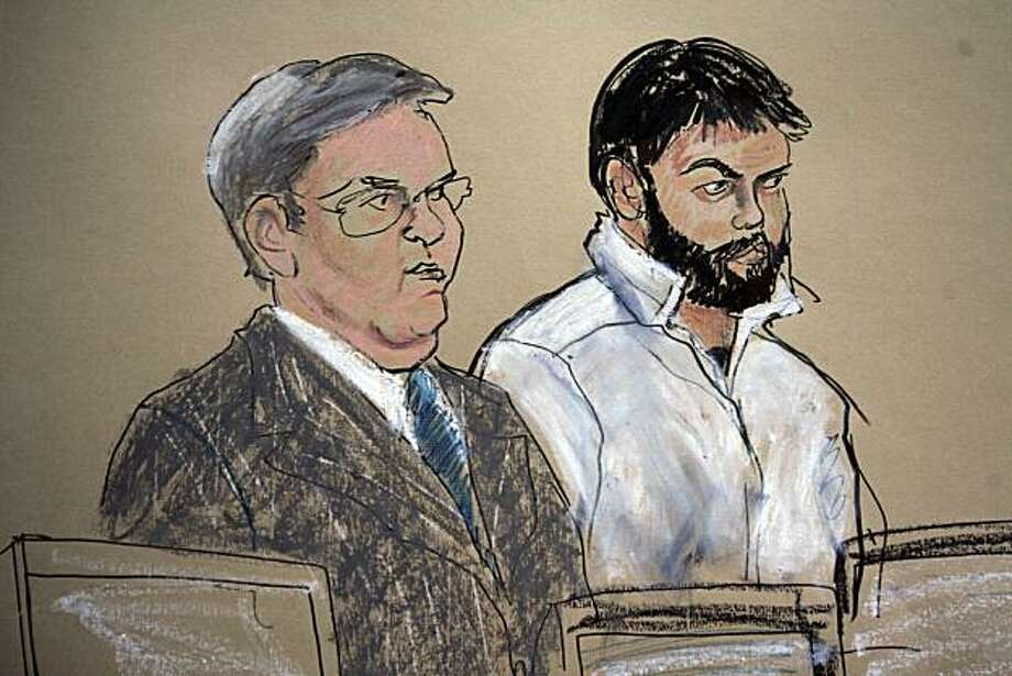 FILE - This Jan. 8, 2010 file courtroom sketch shows Zarein Ahmedzay, right, with his attorney Michael Marinaccio speaking during his arraignment at Brooklyn federal court in New York. Law enforcement officials say Ahmedzay, charged in a plot to attack the New York subway system with homemade bombs, plans to plead guilty Friday, April 23, 2010, in Brooklyn federal court. Photo: Elizabeth Williams, AP