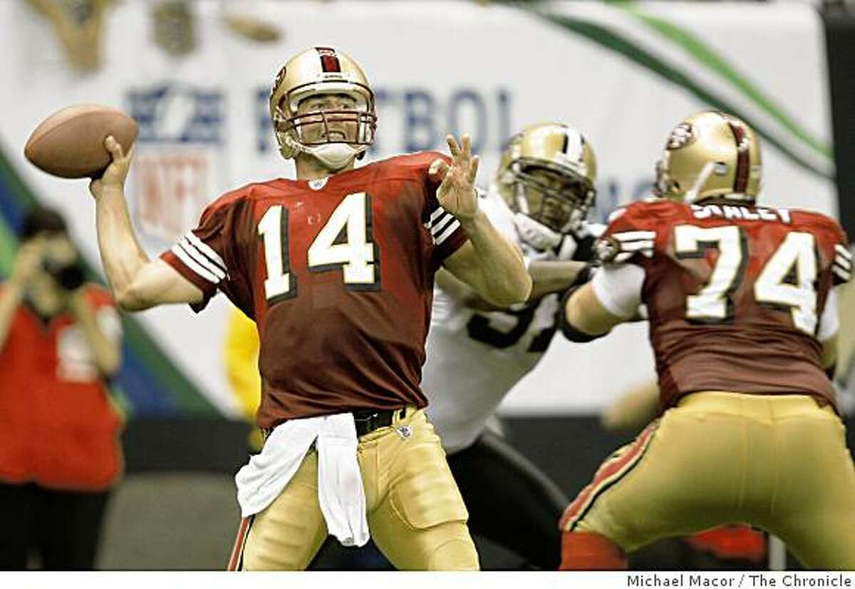 Quarterback J.T. O'Sullivan throws against the Saints at the New Orleans Superdome in New Orleans, La. on Sunday Sept. 28, 2008.
