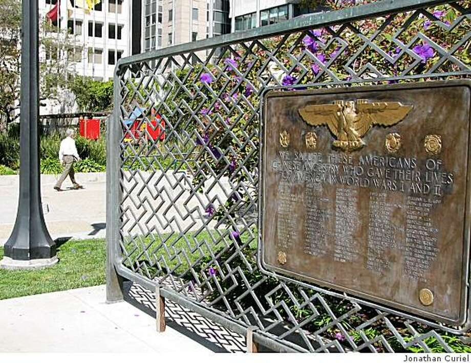 memorial plaque located at St. Mary Square park in s.f. Photo: Jonathan Curiel