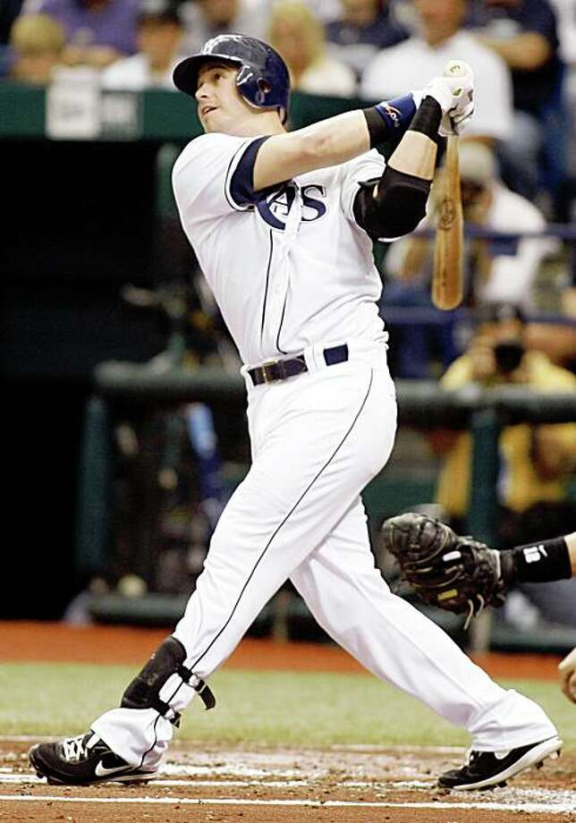 Tampa Bay Rays' Evan Longoria hits a solo home run in the second inning against the Chicago White Sox during Game 1 of the American League division series in St. Petersburg, Fla., Thursday Oct. 2, 2008. Photo: Chris O'Meara, AP