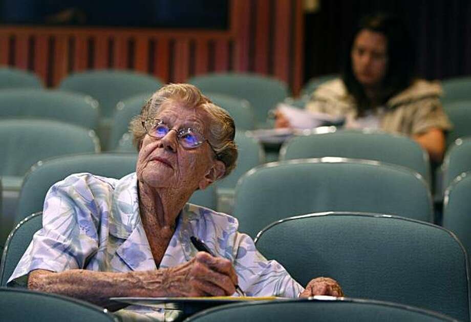 Hazel Soares takes notes during her Egyptian art history class at Mills College in Oakland, Calif., on Thursday, April 22, 2010. Next month, Soares will graduate from Mills with a degree in art history at the age of 94. Photo: Paul Chinn, The Chronicle