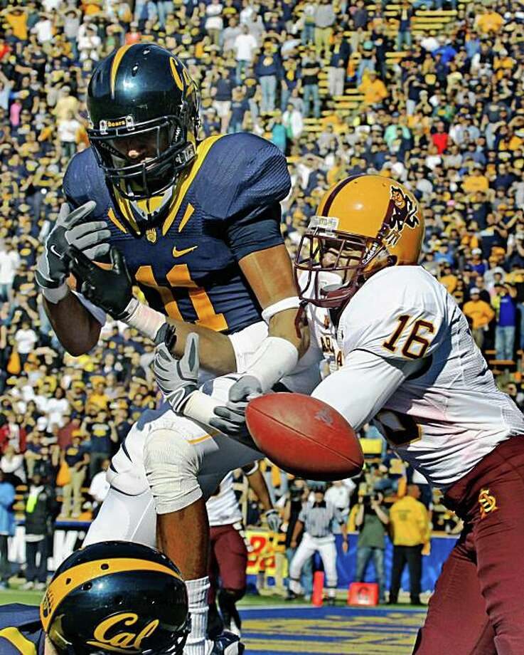 California Sean Cattouse breaks up a pass in the end zone intended for Arizona State Nate Kimbrough late into the 4th quarter. Saturday in Berkeley, Calif.  Cal defeated ASU 24-14 Photo: Lance Iversen, The Chronicle