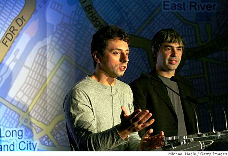 NEW YORK - SEPTEMBER 23:  Google founders Larry Page (R) and Sergey Brin (L) speak at a press conference announcing Google's launch of a new transit mapping feature of Google Maps with the Metropolitan Transit Authority at Grand Central Station on September 23, 2008 in New York City.  Users searching for driving directions will also be given the choice of public transportation directions.  (Photo by Michael Nagle/Getty Images) Photo: Michael Nagle, Getty Images
