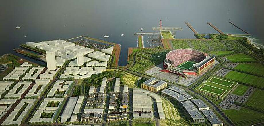 An artist's rendering of a proposed San Francisco 49ers stadium at a redeveloped Hunters Point. Photo: Courtesy Of Lennar Urban, Transparent House