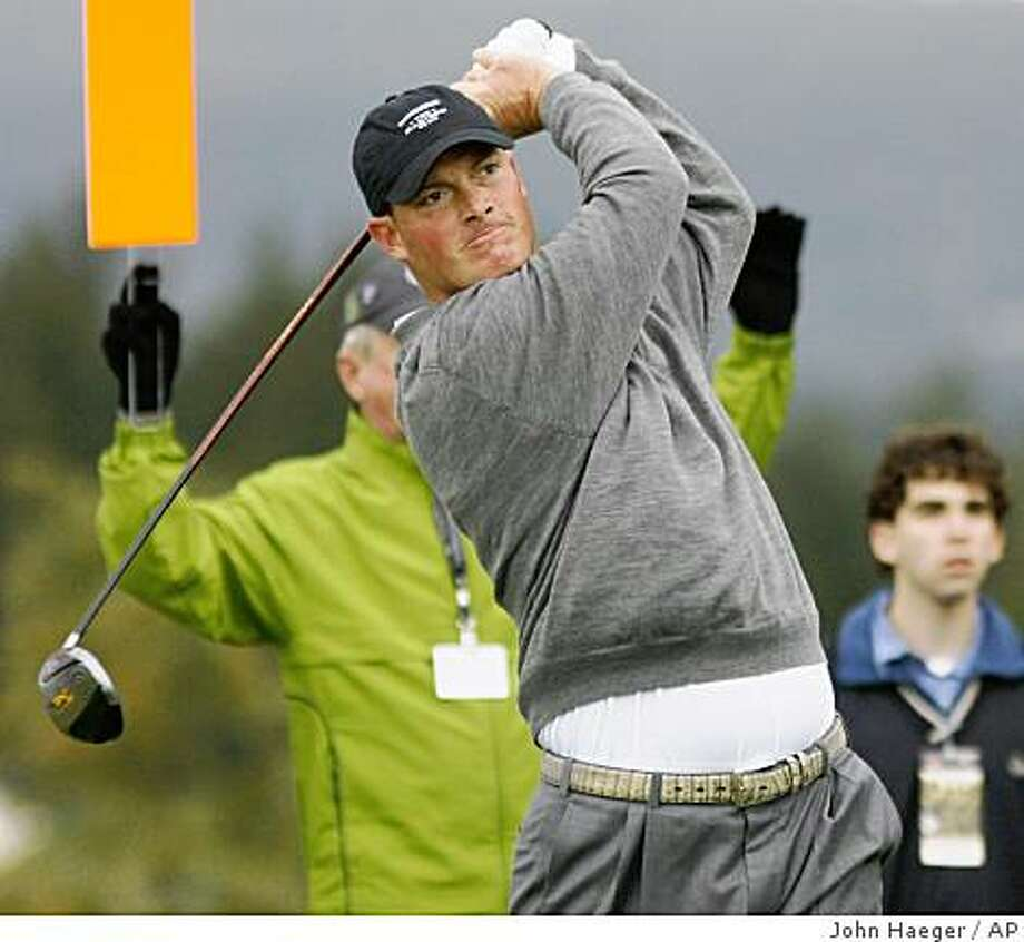 Tag Ridings tees off on the second hole during the third round of the Turning Stone Resort Championship golf tournament in Verona, N.Y., Saturday, Oct. 4, 2008. (AP Photo/John Haeger) Photo: John Haeger, AP