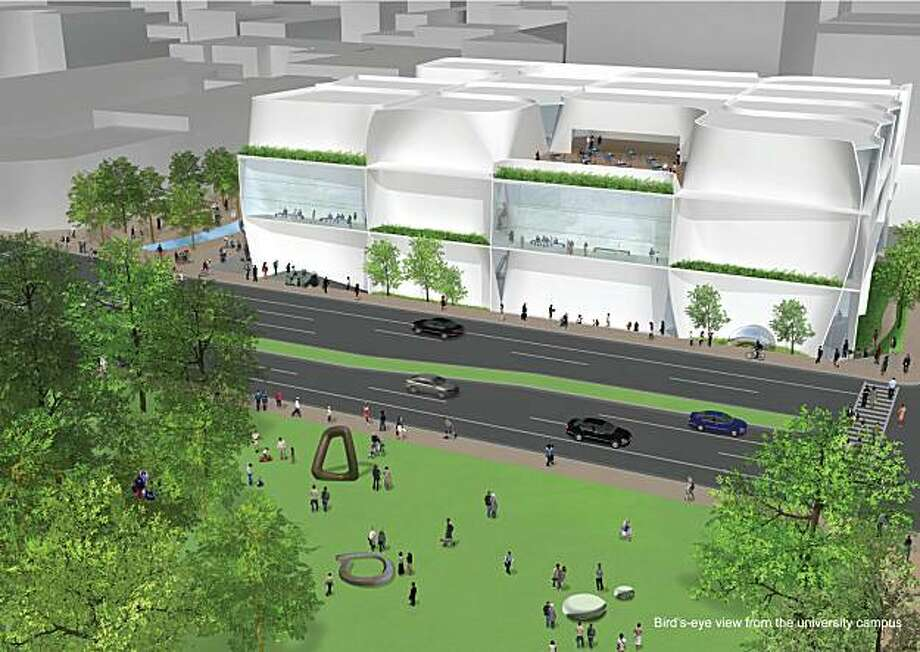 Digital rendering of new building exterior proposed by architect Toyo Ito for the Berkeley Art Museum, view from Oxford Street, rendered by Kuramochi   Oguma for Toyo Ito Associates. Photo: Courtesy Toyo Ito Associates