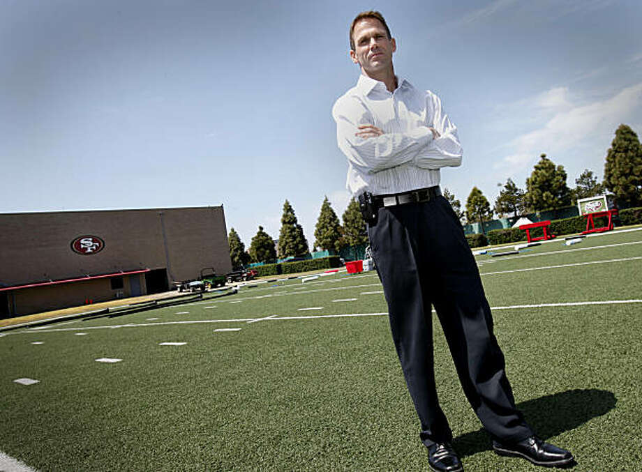 Trent Baalke stood on a practice field at the 49ers facility. Trent Baalke met with reporters at the 49ers headquarters in Santa Clara, Calif. Thursday April 15, 2010. Trent Baalke is the 49ers new player personnel chief and his first big task is the NFL draft. Photo: Brant Ward, The Chronicle