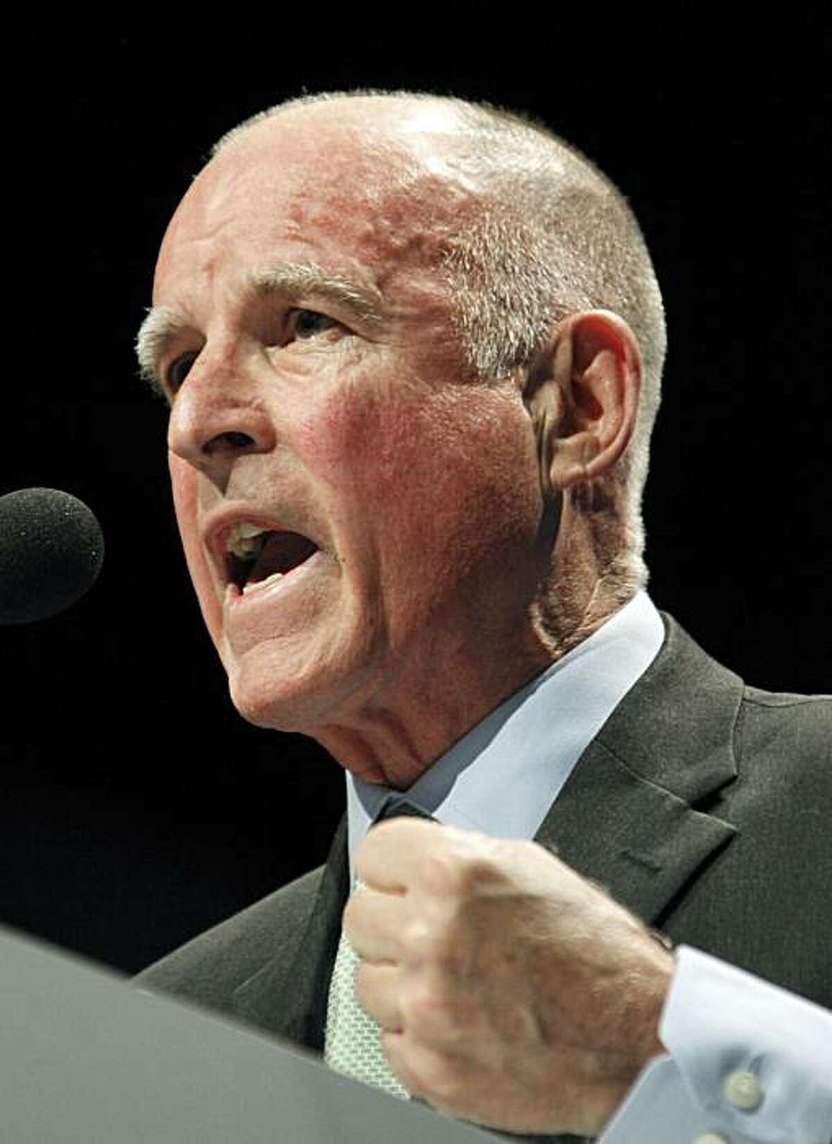 California gubernatorial candidate Jerry Brown speaks at the California Democratic Convention in Los Angeles on Saturday, April 17, 2010.