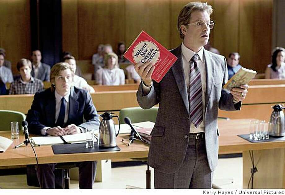 """In this image released by Universal Pictures, Greg Kinnear, right, and Jake Abel, seated left, are shown in a scene from """"Flash of Genius."""" Photo: Kerry Hayes, Universal Pictures"""