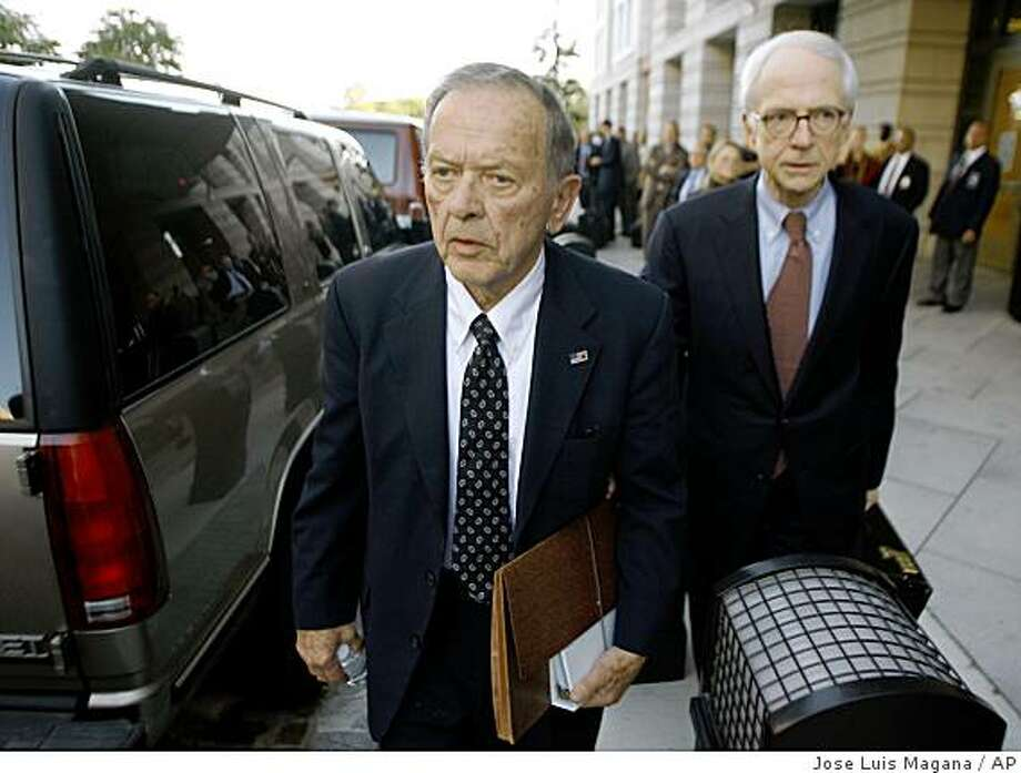 Sen. Ted Stevens, R-Alaska, left, and defense attorney Brendan Sullivan leave the U.S. District Court in Washington Thursday, Oct. 2, 2008. A federal judge Thursday rejected a defense demand to declare a mistrial after a prosecutor miscue in the corruption case against Stevens.  (AP Photo/Jose Luis Magana) Photo: Jose Luis Magana, AP