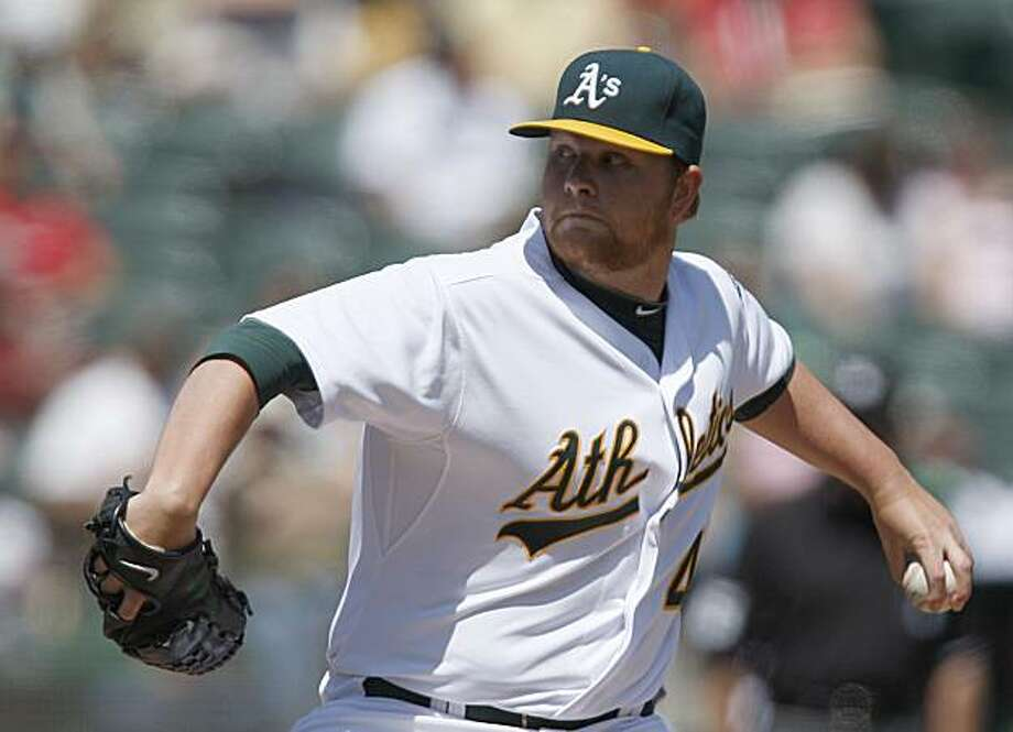 Oakland Athletics' Brett Anderson works against the Baltimore Orioles during the first inning of a baseball game Sunday, April 18, 2010, in Oakland, Calif. Photo: Ben Margot, AP