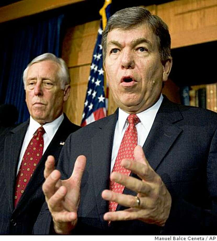 House Minority Whip, Rep. Roy Blunt, R-Mo., with, House Majority Leader Steny Hoyer, D-Md., left, speaks with reporters on Capitol Hill, after the Congress passed the historic legislation to bail out the troubled financial industry, Friday, Oct. 3, 2008, in Washington.  (AP Photo/Manuel Balce Ceneta) Photo: Manuel Balce Ceneta, AP