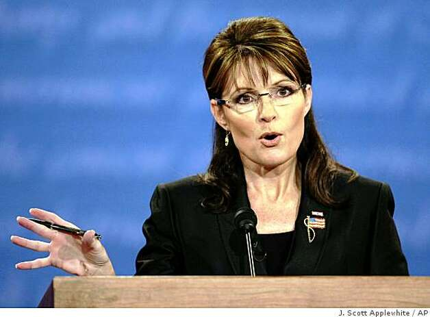 Republican vice presidential candidate Alaska Gov. Sarah Palin speaks duringa vice presidential debate at Washington University in St. Louis, Mo., Thursday, Oct. 2, 2008. Photo: J. Scott Applewhite, AP