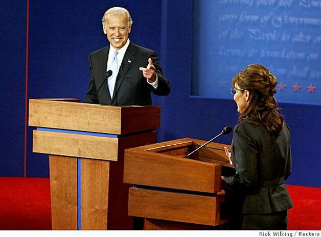 Democratic vice presidential nominee Senator Joe Biden (D-DE) gestures towards Republican vice presidential nominee Alaska Governor Sarah Palin during the vice presidential debate at Washington University in St. Louis, Missouri October 2, 2008. Photo: Rick Wilking, Reuters