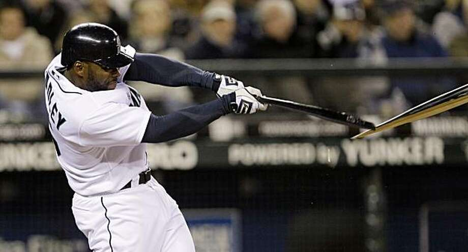 Seattle Mariners' Milton Bradley shatters his bat on a two-run single against the Oakland Athletics in the fifth inning during a baseball game Wednesday, April 14, 2010, in Seattle. Photo: Elaine Thompson, AP