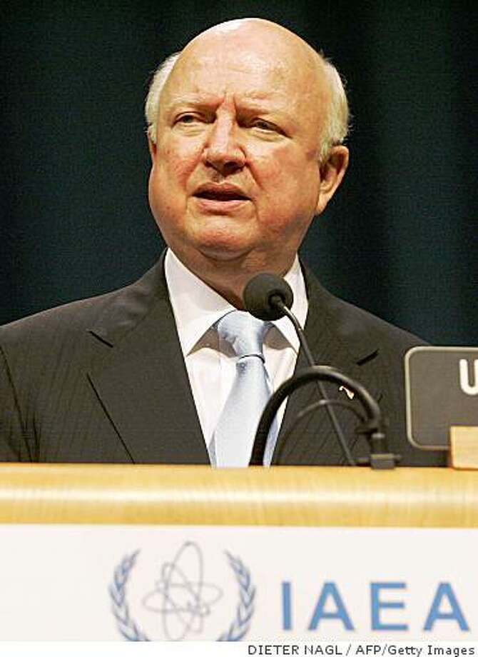 """US Energy Secretary Samuel Bodman speaks on September 29, 2008 at the opening of the International Atomic Energy Agency's (IAEA) general conference in Vienna. UN nuclear watchdog chief Mohamed ElBaradei urged Iran on September 29 to come clean on its contested atomic drive, saying it would be """"good for Iran, good for the Middle East region and good for the whole world.""""   AFP PHOTO / DIETER NAGL (Photo credit should read DIETER NAGL/AFP/Getty Images) Photo: DIETER NAGL, AFP/Getty Images"""