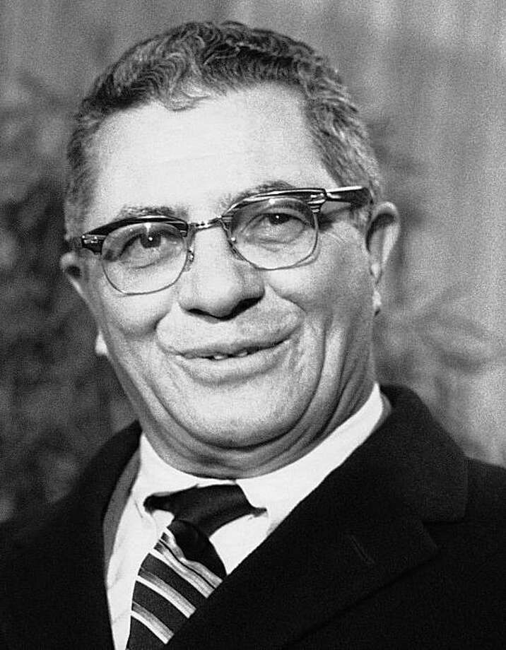 FILE - This Feb. 4, 1969 file photo shows Vince Lombardi of the Green Bay Packers as he speaks to members of the media at LaGuardia Airport in New York. Photo: Marty Lederhandler, AP