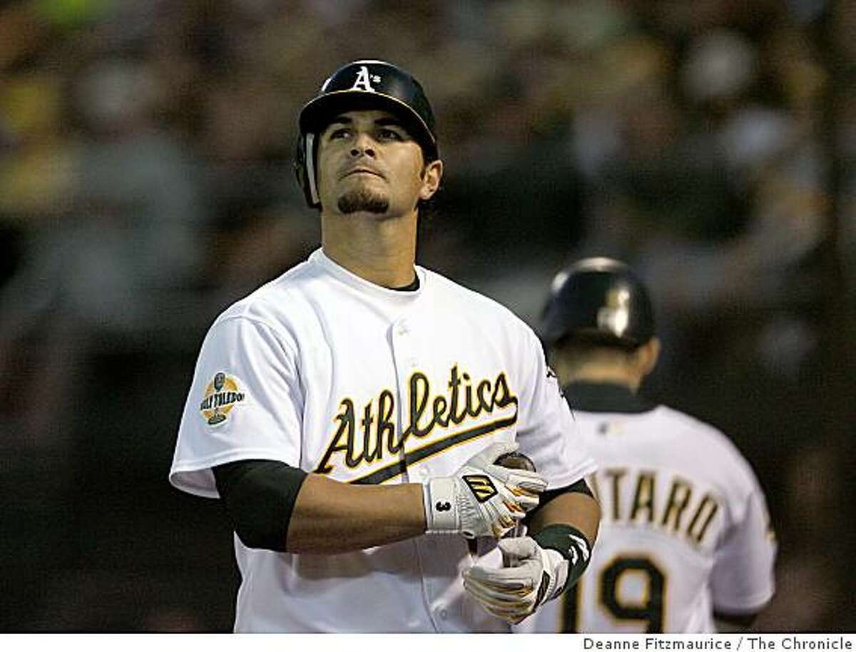 Eric Chavez strikes out in the bottom of the fourth inning. The Oakland Athletics play the Detroit Tigers in game one of the American League Championship Series. Event on Tuesday, October 10, 2006 at McAfee Coliseum in Oakland, California.
