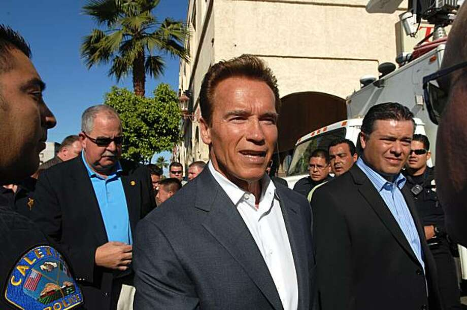Gov. Arnold Schwarzenegger visits downtown Calexico, Calif. in the Imperial Valley in Southern California on Thursday, April 8, 2010. The city was hit by a 7.2  earthquake on Sunday, April 4, 2010. City officials gave the governor a tour of the business areas. Photo: Joselito Villero, AP