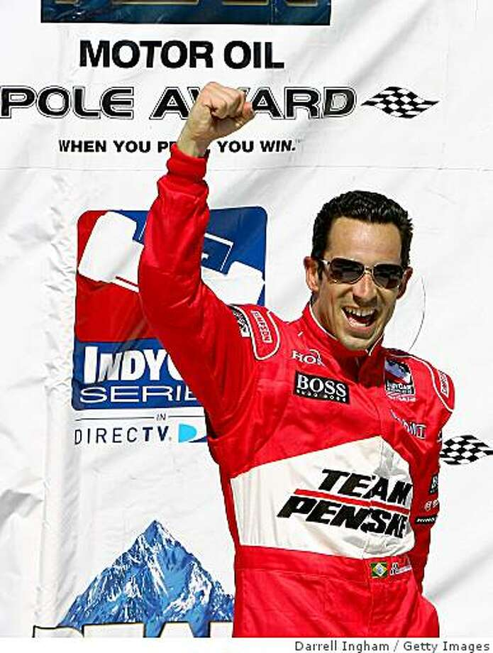 SONOMA, CA - AUGUST 23:  Helio Castroneves, driver of the #3 Team Penske Dallara Honda celebrates pole position for the IRL IndyCar Series PEAK Antifreeze & Motor Oil Indy Grand Prix of Sonoma County on August 23, 2008 at the Infineon Raceway in Sonoma, California.  (Photo by Darrell Ingham/Getty Images) Photo: Getty Images