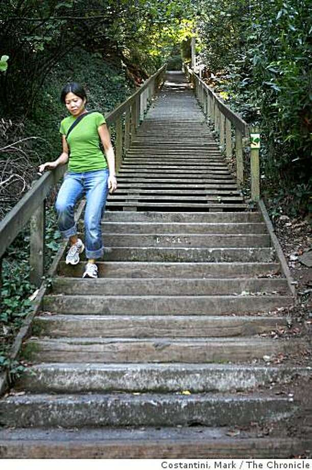 A walker descends the Dipsea Steps in Mill Valley, Calif. on Thursday, September 25, 2008. Photo: Costantini, Mark, The Chronicle