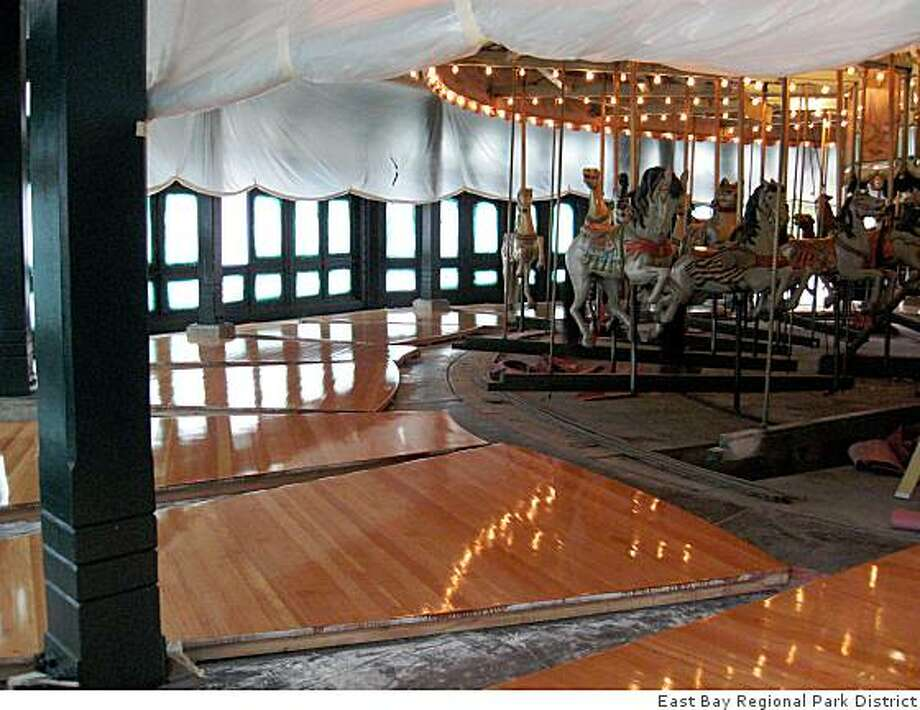 Rennovation of the Merry-Go-Round at Tilden Park includes a new floor made of fir. Photo: East Bay Regional Park District