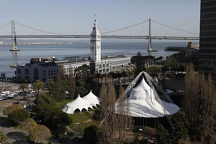 A fully erected tent for an 18 week production of Peter Pan points toward the sky at Sue Bierman Ferry Park near the Embarcadero on Thursday March 18, 2010 in San Francisco Calif. Photo: Mike Kepka, The Chronicle