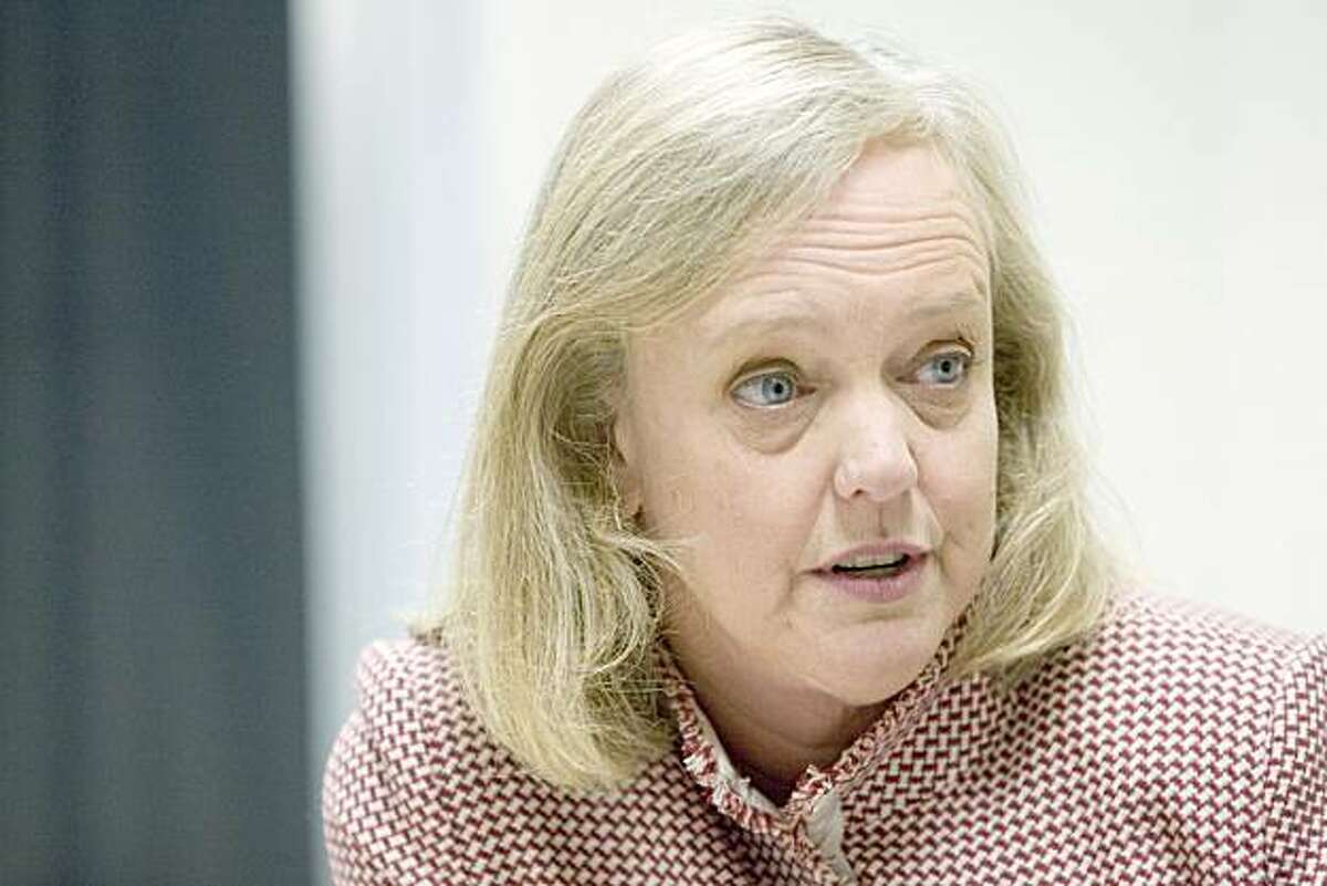 Republican gubernatorial candidate Meg Whitman talks with Chronicle columnist Debra J. Saunders (not pictured) after Whitman toured the Union Pacific Intermodal Facility in in Oakland, Calif. on Tuesday, March 9, 2010. Kat Wade / Special to the Chronicle