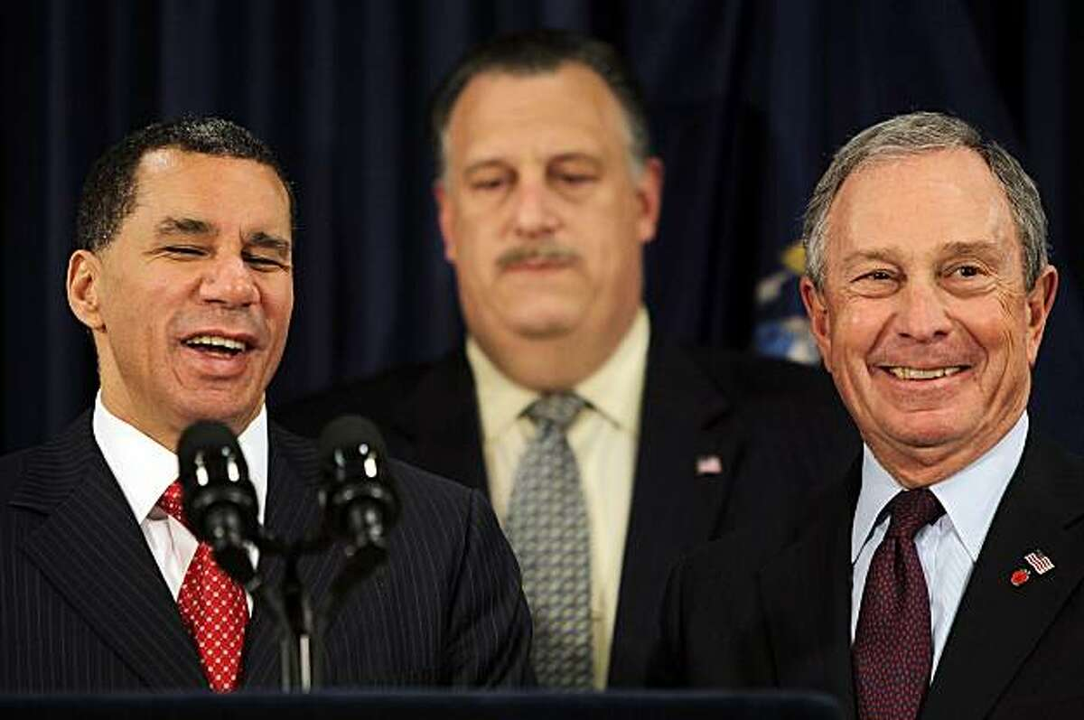 NEW YORK - MARCH 25: (L to R) New York Governor David Paterson, New York City's Building & Construction Trades Council president Gary LaBarbera and New York City Mayor Michael Bloomberg look on at a press conference announcing a new development agreementfor the World Trade Center site March 25, 2010 in New York City. The tentative agreement will have four office towers constructed after a 16-month stalemate over building at the site.