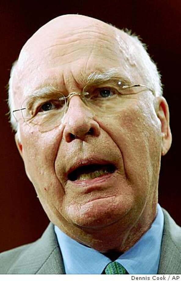 Senate Judiciary Committee Chairman, Sen. Patrick Leahy, D-Vt., discusses White House failure to respond to subpoenas regarding wiretapping without a warrant during a news conference in Washington Monday, Aug. 20, 2007. (AP Photo/Dennis Cook) Photo: Dennis Cook, AP