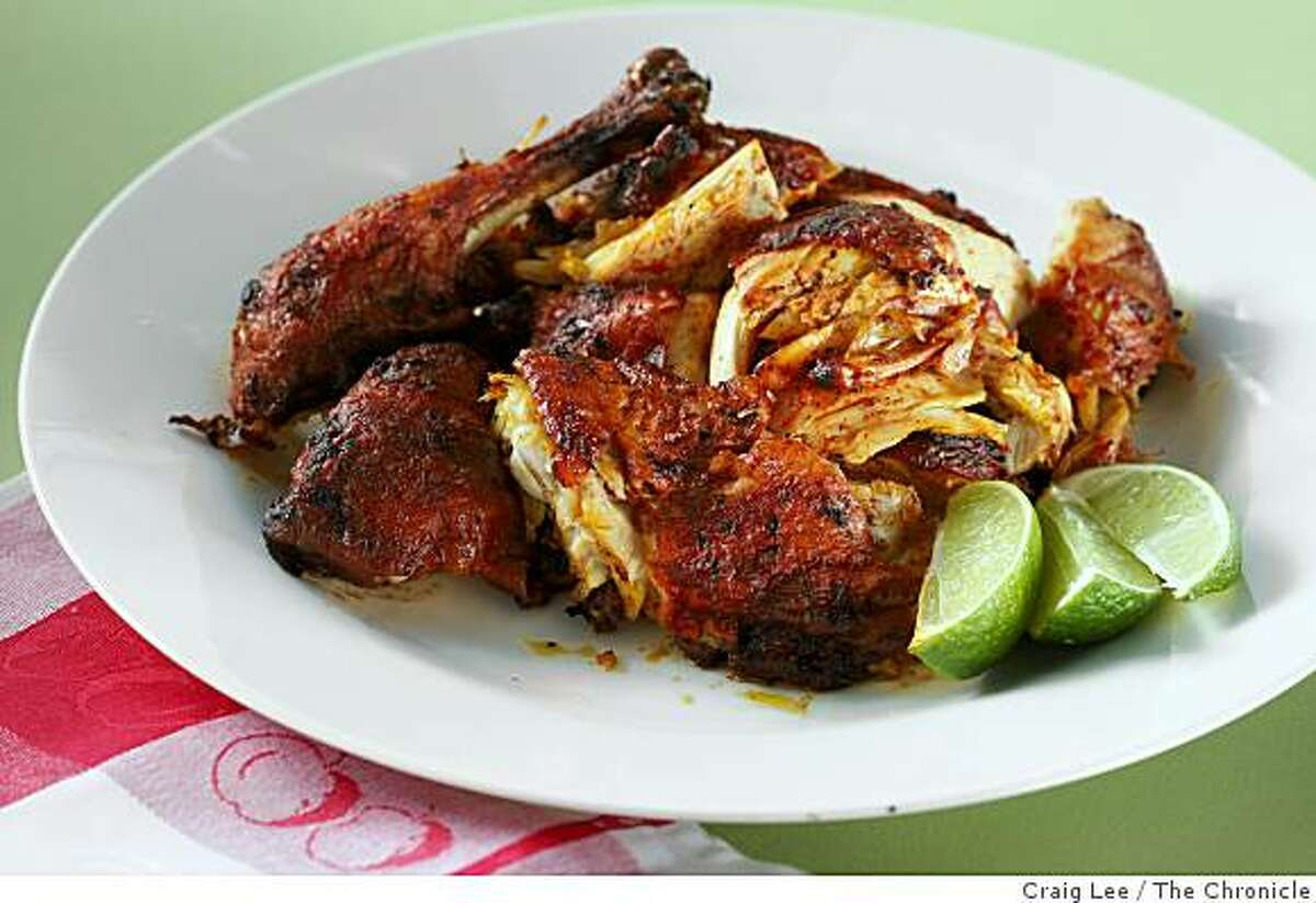 Roast Annatto Chicken in San Francisco, Calif., on September 4, 2008. Food styled by Cindy Lee.