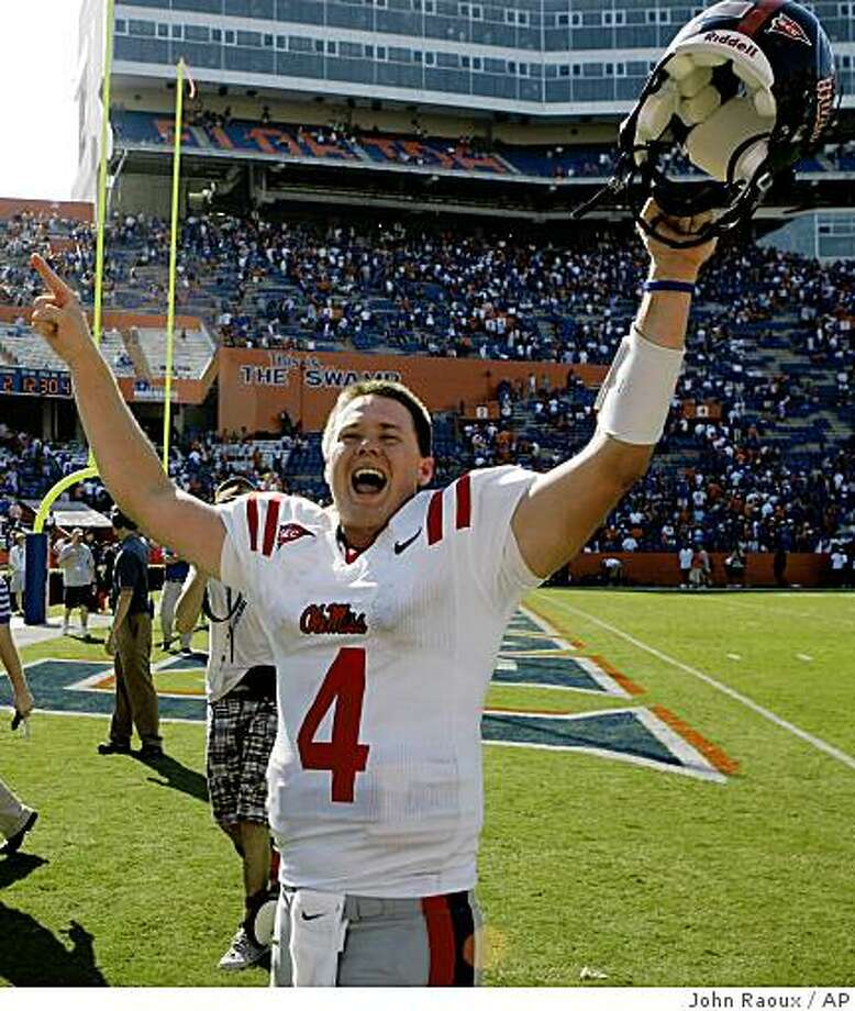 Mississippi quarterback Jevan Snead celebrates after defeating No. 4 Florida 31-30 in an NCAA college football game in Gainesville, Fla., Saturday, Sept. 27, 2008.(AP Photo/John Raoux) Photo: John Raoux, AP