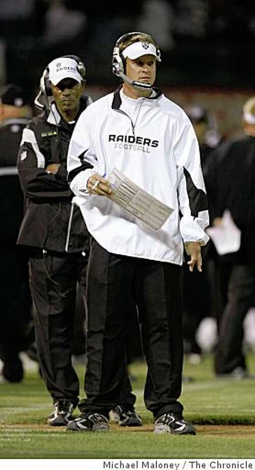 Raiders head coach Lane Kiffin.The Oakland Raiders host the San Francisco 49ers in a NFL preseason game at McAfee Coliseum in Oakland, Calif., on August 8, 2008. Photo: Michael Maloney, The Chronicle