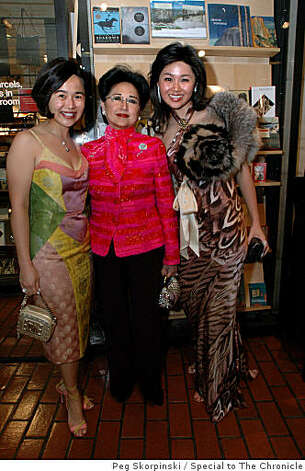 The Taisho Chic Gala Dinner and Fashion Show raised funds for UC Berkeley's Berkeley Art Museum and Pacific Film Archive: (from left) Shirley King, and honorary committee member (center), with her daughters, Philomena King (also a committee member) and Grace King (far right) Photo: Peg Skorpinski, Special To The Chronicle